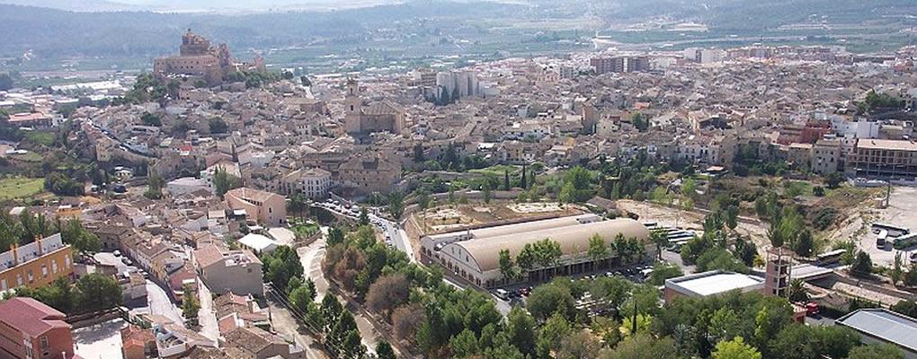 Vista aérea de Salones Castillo y Castillo de Caravaca
